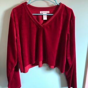 VTG 70s Red Velvet Cropped V Neck